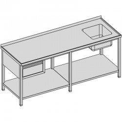 Umývací stôl so zásuvkou a policou dlhý