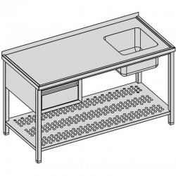 Umývací stôl s drezom + zásuvka a perforovná polica