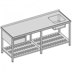 Umývací stôl s drezom, zásuvka + perforovaná polica, dlhý