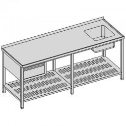 Umývací stôl s drezom, zásuvka + perfovaná polica, dlhý