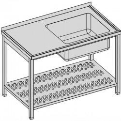Umývací stôl s vaňou a perforovanou policou