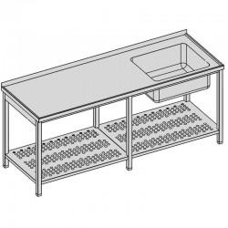 Umývací stôl s vaňou a perforovanou policou dlhý