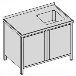 Umývací stôl, krytý s drezom a krídlovými dverami