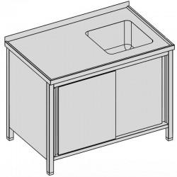 Umývací stôl krytý s drezom a posuvnými dverami