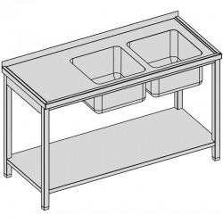 Umývací stôl s 2-drezmi a policou 140x60