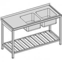 Umývací stôl s dvomi drezmi a roštom