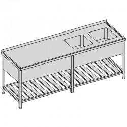 Umývací stôl s dvomi drezmi s roštom a krytom dlhý