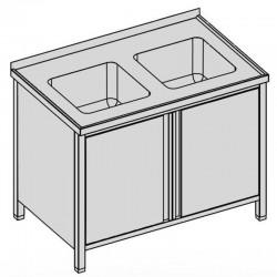 Umývací stôl s dvomi drezmi a krídlovými dvermi, krytý