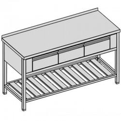 Pracovný stôl s tromi krytovanými zásuvkami a roštom