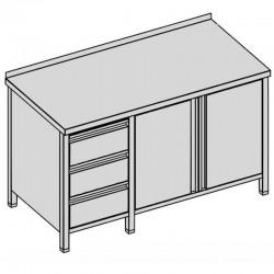 Prac. stôl - 3 zásuv. a krídl. dvierka 170x60