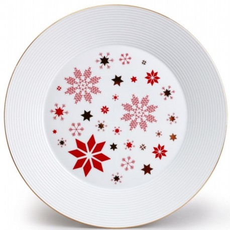 Lea tanier plytký 27 cm hviezda - červená, zlato