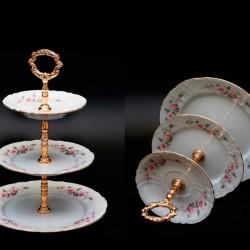 Etažérka Bernadotte 3D šedo-ružový kvet zl