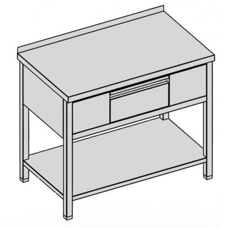 Pracovný stôl s krytovanou zásuvkou a policou