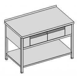 Pracovný stôl s dvomi krytovanými zásuvkami a policou