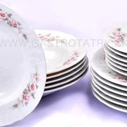 BERNADOTTE šedo-ružový kvet bez linky tanierová súprava 18 D
