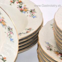 BERNADOTTE ivory farebné kvety + zlatá linka tanierová súprava 18 D