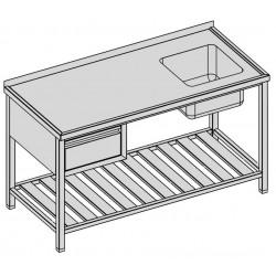 Umývací stôl so zásuvkou a roštom 160x70