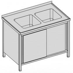 Umývací stôl s dvomi drezmi a posuvnými dvermi, krytý
