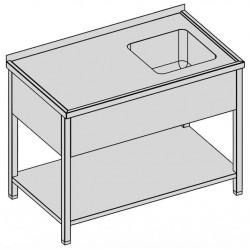 Umývací stôl s kryt. drezom a policou 150x70
